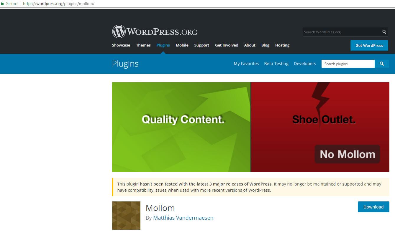 Mollom nel sito WordPress.Org
