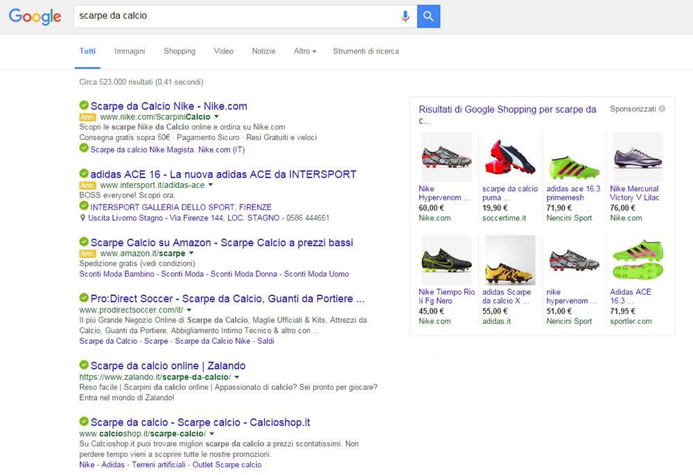 Risultati di ricerca con Google Shopping